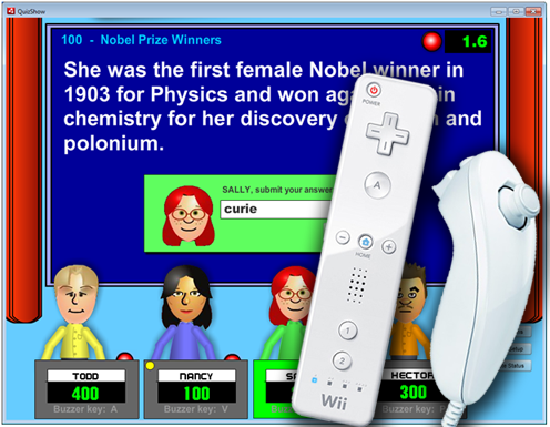 Quiz Show screenshot showing questoin and wii remote/nunchuk