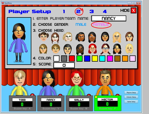 Player Setuyp screenshot fromn Quiz Show (establishing avatars)